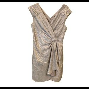 Adrianna papell silver steel wrap mid dress NEW